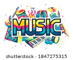 background with musical... | Shutterstock .eps vector #1847275315
