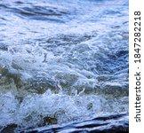 Waves Run Onto  Shore And Crash ...