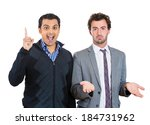 Small photo of Closeup portrait people, excited, optimistic guy having solution, and bored, annoyed clueless man, isolated white background. Human emotions, expressions, feelings. Bipolar disorder concept