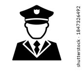 Police Officer Silhouette Icon. ...