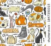 world cats day. seamless... | Shutterstock .eps vector #1847350315