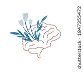 human floral brain. line art... | Shutterstock .eps vector #1847355472
