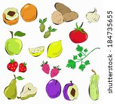 hand drawn vegetables  and... | Shutterstock .eps vector #184735655