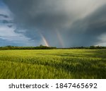 Double Bright Colorful Rainbow...
