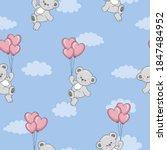 seamless teddy bear pattern....   Shutterstock .eps vector #1847484952