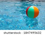 Beach ball in pool. colorful...