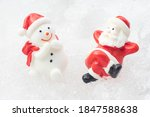 santa claus and snowman on snow ...   Shutterstock . vector #1847588638