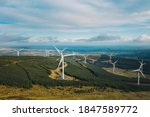 Small photo of Raheenleagh forest, Ballinvalley, Co.Wicklow / Ireland - October 2020 : The newest Ireland's wind farm energy project owned by Coillte and ESB, which is located approximately 8 km west of Arklow town