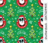 alien santa claus seamless... | Shutterstock .eps vector #1847609905