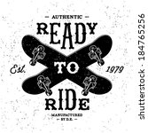vintage label Ready To Ride ( T-Shirt Print )