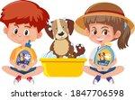 boy and girl holding dog... | Shutterstock .eps vector #1847706598