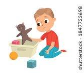 little big eyed boy picking up... | Shutterstock .eps vector #1847723698