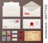 mail envelope  stickers  stamps ... | Shutterstock .eps vector #184777232