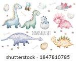 set of cute dinosaurs  birds ... | Shutterstock .eps vector #1847810785