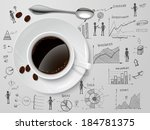 coffee cup and spoon on... | Shutterstock .eps vector #184781375