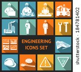 Engineering construction and industrial icons set of working industry and equipment symbols vector illustration