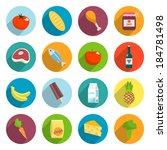online supermarket foods flat... | Shutterstock .eps vector #184781498