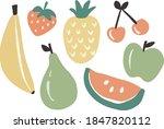 hand drawn pastel fruit...   Shutterstock .eps vector #1847820112