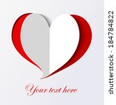 white paper heart icon on red... | Shutterstock .eps vector #184784822