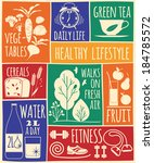healthy lifestyle icons set | Shutterstock .eps vector #184785572
