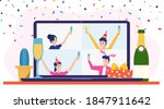 birthday party online ... | Shutterstock .eps vector #1847911642