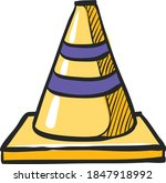 road sign cone icon in color...   Shutterstock .eps vector #1847918992