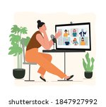people listening and recording... | Shutterstock .eps vector #1847927992