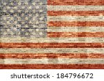 Painted American Flag On Old...