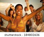 people enjoying a summer beach... | Shutterstock . vector #184802636