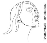 one line  drawing of set faces... | Shutterstock .eps vector #1848038032
