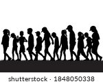 silhouettes of children playing ... | Shutterstock .eps vector #1848050338