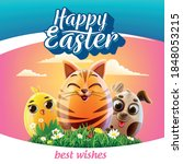 easter eggs decorations with... | Shutterstock .eps vector #1848053215