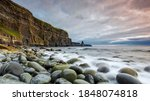 Small photo of cliffs of moher west coast ireland county clare. cliffs of moher county clare ireland. famous irish landscape and seascape on the wild atlantic way