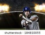 baseball player on a blue... | Shutterstock . vector #184810055