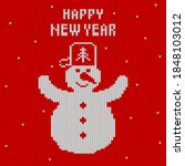 christmas and new year knitted...   Shutterstock .eps vector #1848103012