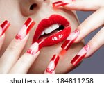 fingers with red french acrylic ... | Shutterstock . vector #184811258