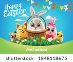 easter greeting card with eggs... | Shutterstock .eps vector #1848118675