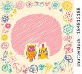 owls cute cartoon card and... | Shutterstock . vector #184812188