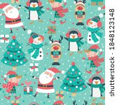 seamless christmas pattern with ... | Shutterstock .eps vector #1848123148