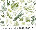 seamless background with herbs... | Shutterstock .eps vector #1848128815