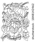 coloring page. thanksgiving... | Shutterstock .eps vector #1848142462