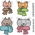 Cute Drawn Cats In Scarves....