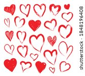 grunge red hearts set isolated...   Shutterstock .eps vector #1848196408