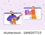 people wishing merry christmas... | Shutterstock .eps vector #1848207715