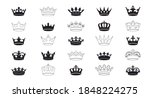 Set Vector King Crowns Icon On...