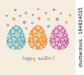 vector easter card. color eggs... | Shutterstock .eps vector #184824035