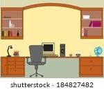 retro home office interior | Shutterstock .eps vector #184827482