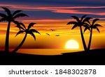 golden sunset in the beach.... | Shutterstock .eps vector #1848302878