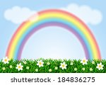 landscape with a rainbow and... | Shutterstock .eps vector #184836275