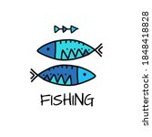 fishing logo. fish sketch for... | Shutterstock .eps vector #1848418828
